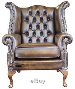Chesterfield Armchair Queen Anne High Back Fireside Wing Chair Gold Leather