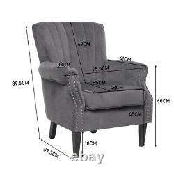 Chesterfield Armchair Scallop Wing Back Fireside Lounge Chair Queen Anne Sofa