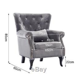 Chesterfield Armchair Wing Back Cocktail Studs Button Chair Velvet Grey Fireside