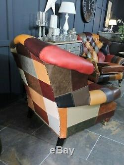 Chesterfield Berkeley Fireside Chairs Patchwork Leather Harlequin 2 Available