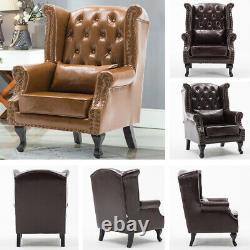 Chesterfield Buttoned Queen Anne Sofa Armchair Wing Back Fireside Lounge Chair