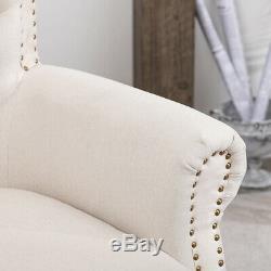 Chesterfield Cream Fabric Wing Button Chair Queen Empress Armchair Fireside Sofa