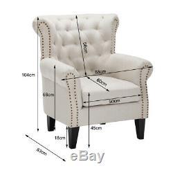 Chesterfield Deep Button Fabric Armchair Wing High Back Chair Sofa Stud Fireside