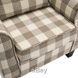Chesterfield Fabric Armchair Wingback Queen Anne Tartan Checked Chair Fireside