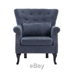 Chesterfield Grey Velvet Armchair Queen Anne Wingback Chair Fireside Sofa Seat