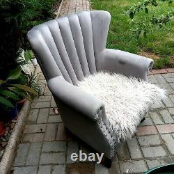 Chesterfield Grey Velvet Armchair Wing Shell Back Queen Fireside Chair