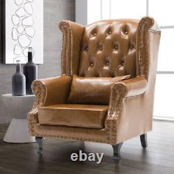 Chesterfield High Back Armchair Queen Anne Wingback Sofa Leather Fireside Chairs