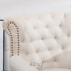 Chesterfield High Back Chair Button Tufted Winged Armchair Fireside Fabric Sofa
