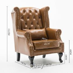 Chesterfield High Back Chair Wing Back Button Antique Armchair Leather Fireside