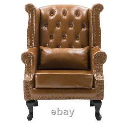 Chesterfield High Back Queen Anne Wingback Armchair Sofa Chair Leather Fireside