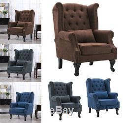Chesterfield High Back Tub Chair Button Tufted Wing Back Armchair Fireside Sofa