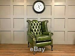 Chesterfield High Wing Back Fireside Green Leather Chair Armchair Queen Anne UK