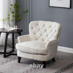 Chesterfield Linen Armchair Stud Button Back Fireside Chair Lounge Sofa Wood Leg