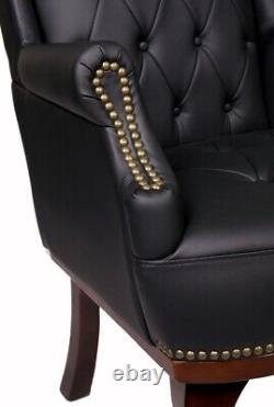 Chesterfield Queen Anne High Back Fireside Wing Back Black Chair