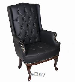 Chesterfield Queen Anne High Back Fireside Wing Back In Cream or Black Chair