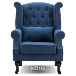 Chesterfield Queen Anne High Back Fireside Wing Chair Fabric Wool Armchair Seat