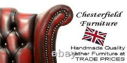 Chesterfield Queen Anne High Back Fireside Wing Chair Pimlico Burgandy Fabric LL