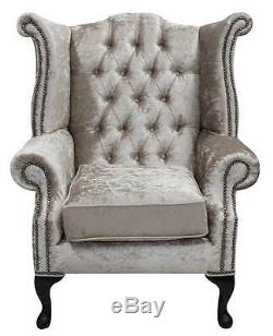 Chesterfield Queen Anne High Back Fireside Wing Chair Shimmer Mink Velvet