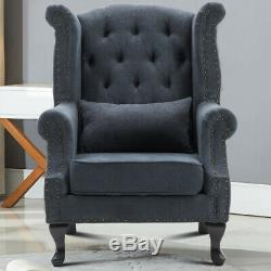 Chesterfield Queen Anne High Wing Back Fireside Armchair Chair Fabric Seat Grey