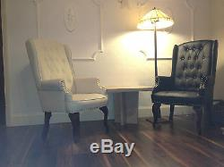 Chesterfield Queen Anne Style Chair Luxury Leather Armchair Wingback Fireside