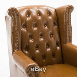 Chesterfield Queen Anne Style Chair Luxury Leather Armchair Wingback Fireside UK