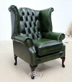Chesterfield Queene Anne Wingback Fireside Armchair Vintage Green Leather