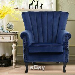 Chesterfield Style High Back Velvet Fireside Accent Armchairs Sofa Wing Backrest