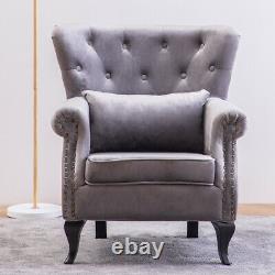 Chesterfield Velvet Armchair Winged Back Button Rivet Style Chair Fireside Sofa
