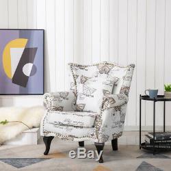 Chesterfield Vintage Butterfly Fabric Armchair Fireside Studded Rivet Chair Sofa