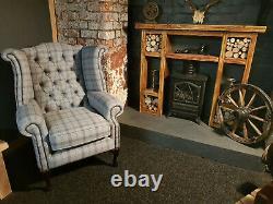 Chesterfield WingBack Queen Anne Style Fireside Chair Stylish Light Grey Tartan