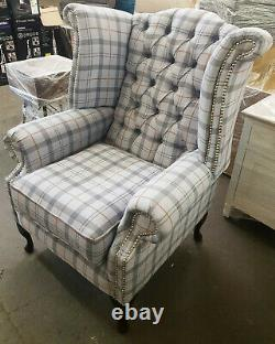 Chesterfield WingBack Queen Anne Style Fireside Chair Stylish MID Grey Tartan