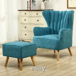 Chesterfield Wing Back Accent Chair with Footstool Modern Lounge Fireside Armchair