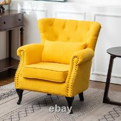 Chesterfield Wing Back Armchair Deep Button Fabric Fireside Chair Lounge Sofa