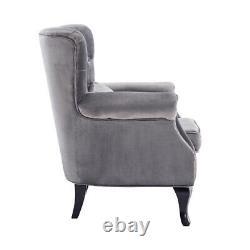 Chesterfield Wing Back Fireside Velvet Armchair Sofa Lounge Chair + Cushion UK