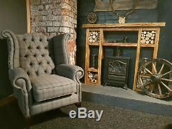 Chesterfield Wing Back Queen Anne Fireside Chair New Stylish Dark Grey Tartan