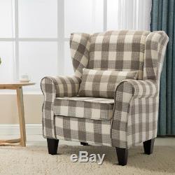 Chesterfield Wing Back Queen Anne High Back Fireside Armchair Sofa Chair Tartan