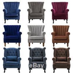 Chesterfield Wing Chair HighBack Velvet Fabric Tub Sofa Fireside Armchair Lounge