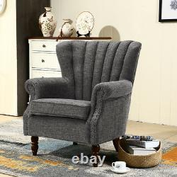 Chesterfield Wingback Armchair Occasional Leather Fabric Velvet Chair Fireside