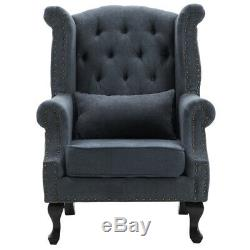Chesterfield Winged Queen Anne High Back Fireside Armchair Chair Fabric UK Seat
