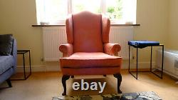 Chesterfield armchair fabric wingback occasional fireside chair