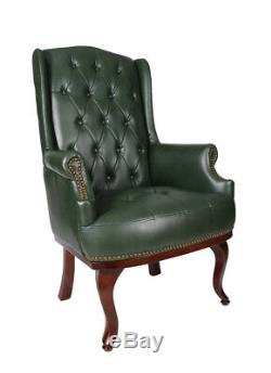 Cheterfield High Back Chair Winged Armchair Fireside Queen Anne Fireside Leather