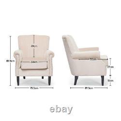 Creamy Velvet Armchair Studded Wing Back Queen Anne Sofa Fireside Lounge Chair
