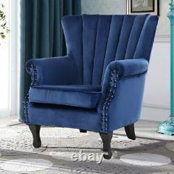 Crushed Velvet Armchair Tub Chair Lounge Wing High Back Retro Sofa Fireside
