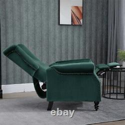 Dark Green Recliner Chair Armchair Sofa WingBack Fabric Fireside Leisure Velvet