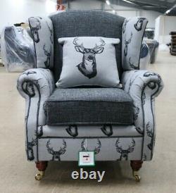 Deer Antler Stag Animal Print High Back Wing Chair Fireside Grey Fabric