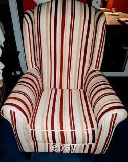 Designer Wing-Backed Striped Fabric Fireside Chair