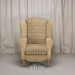 Duchess Wingback Chair Gold Check Fabric Fireside Armchair + Front Castors UK