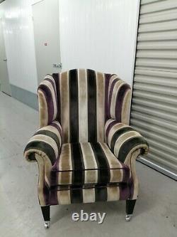 Duresta'somerset' Wing Back Chair Stripe, Wingback Devonshire, Fireside 1/2