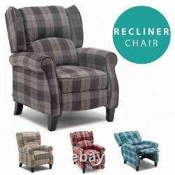 Eaton Wing Back Fireside Check Fabric Recliner Armchair Sofa Lounge Armchair