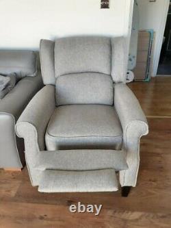Eaton Wingback Fireside Recliner Chair in Grey herringbone fabric